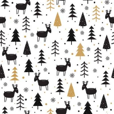 Tapeta Bezszwowe tło z doodle jelenia
