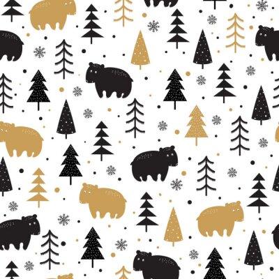 Tapeta Bezszwowe tło z doodle niedźwiedzie