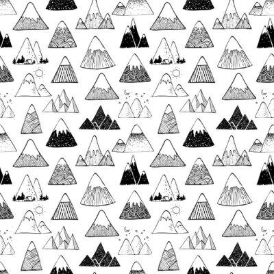 Tapeta Bezszwowe tło z doodle szkic góry na białym tle. Może być stosowany do tapet, wypełnień deseniem, tekstyliów, tła strony internetowej, tekstur powierzchni.