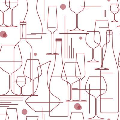 Tapeta Bezszwowe tło z kieliszków i butelek wina. Element projektu do degustacji, menu, lista win, winiarnia, sklep. Styl linii. Ilustracji wektorowych.