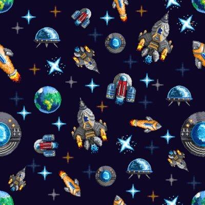 Tapeta Bezszwowe tło z pikseli latających rakiet kosmicznych i statek wśród planet