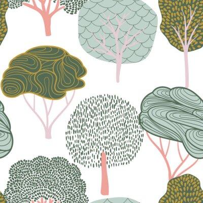 Tapeta Bezszwowe tło z stylizowane drzewa. Jasny wzór lasu