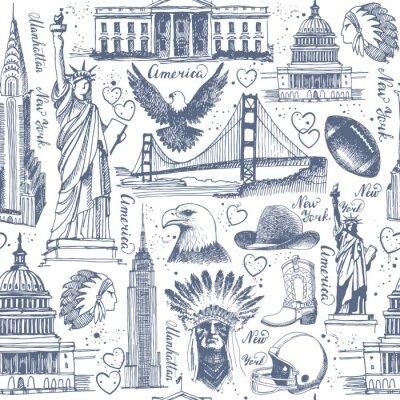 Tapeta Bezszwowe tło z szkice symboli USA