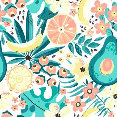 Tapeta Bezszwowe tło z tropikalnych owoców