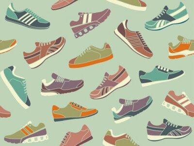 Tapeta Bezszwowe tło ze zdjęć buty sportowe