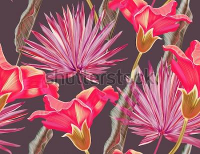 Tapeta Bezszwowe tropikalny kwiat, roślina i liść wzór tła