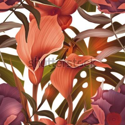 Tapeta Bezszwowe tropikalny kwiat, roślina i liść wzór tła, w stylu hawajskim