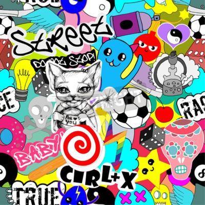Tapeta Bezszwowe wektor wzór jasne kolorowe naklejki znaków tła, śmieszne graffiti, styl sztuki ulicznej