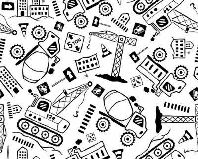 Tapeta Bezszwowe wektor wzór kreskówka pojazdu budowlanego