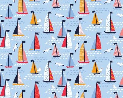 Tapeta Bezszwowe wektor wzór z ręcznie rysowane jachty żaglowe i mewy. Lato jasne tło dla projektowania tkanin.