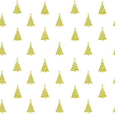 Tapeta Bezszwowe wektora wzór złote geometryczne sylwetki choinkowe paski ozdoby płatki śniegu baubles na białym tle, prezent opakowania papier, tkaniny, quilting