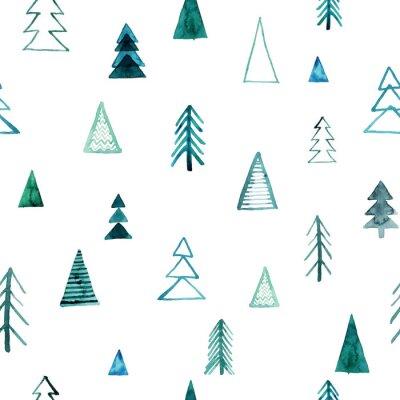 Tapeta Bezszwowe wzór lasu akwarela. Zieleni drzewa na białym tle. Streszczenie akwarela ilustracja. Może być stosowany do wypełnień deseniem, tapet, faktury tkaniny, tekstur powierzchni.