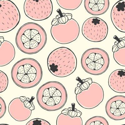 Tapeta Bezszwowe wzór przyrody z szkicem jagód. Tło wektor różowy z mangostanem. Żywność tropikalna.