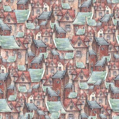 Tapeta Bezszwowe wzór starego miasta z europejskich murowanych domów i dachów. Romantyczna bajka.