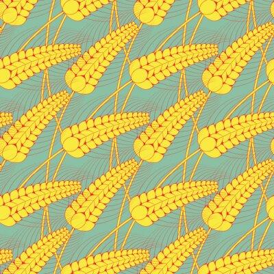 Tapeta bezszwowe wzór stylizowany pole pszenicy w kolorze niebieskim i żółtym