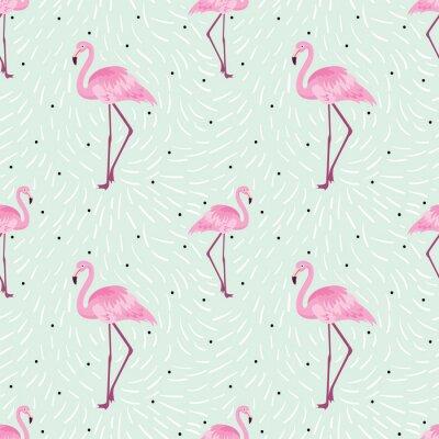 Tapeta Bezszwowe wzór z flamingo. Kolekcja odizolowanych zwierząt w stylu kreskówek