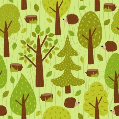 Tapeta Bezszwowe wzór z jeżem w lesie - wektor ilustracji, eps