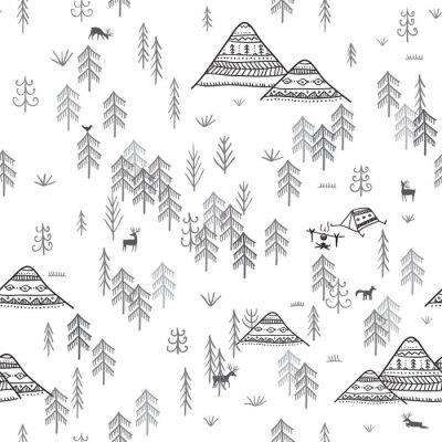 Tapeta Bezszwowe wzór z lasów gór i kempingów