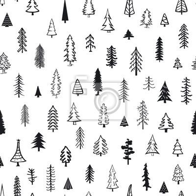 Tapeta bezszwowe wzór z ró? nych drzew iglastych Drzewo sosnowe doodle xmas