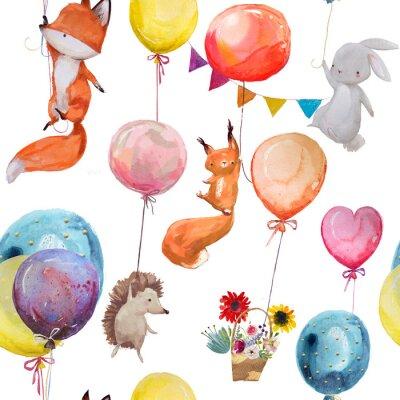 Tapeta Bezszwowe wzór ze zwierzętami z balonami