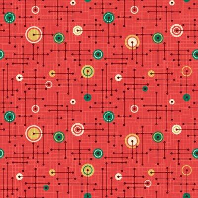 Tapeta Bezszwowy 1950s retro wzór linie i okręgi dla tkanina projekta, opakunkowy papier, tła. Święto czerwone i zielone. Nakładka na teksturę lnu.
