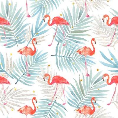 Tapeta Bezszwowy akwarela wzór z ptasim flamingiem i tropikalnymi liśćmi. Piękny różowy ptak. Tropikalny flaming.