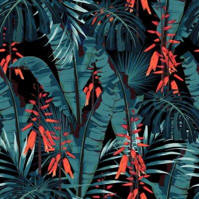 Tapeta Bezszwowy deseniowy kwiecisty akwareli projekt: sukulent w kwiacie z pomarańczowymi kwiatami i liśćmi palmowymi i bananowymi. Nowoczesny, jasny wzór druku letniego. Czarny wydruk w tle.