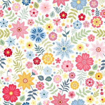 Tapeta Bezszwowy ditsy kwiecisty wzór z ślicznymi małymi kwiatami na białym tle. Ilustracji wektorowych. Drukowanie na tkaninę, papier, tapetę, opakowanie.