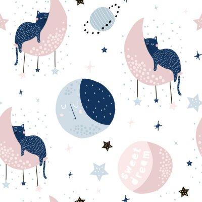 Tapeta Bezszwowy dziecięcy wzór z kotami na księżycach i gwiaździstym niebie. Twórcza tekstura dzieci na tkaniny, opakowania, tekstylia, tapety, odzież. Ilustracji wektorowych