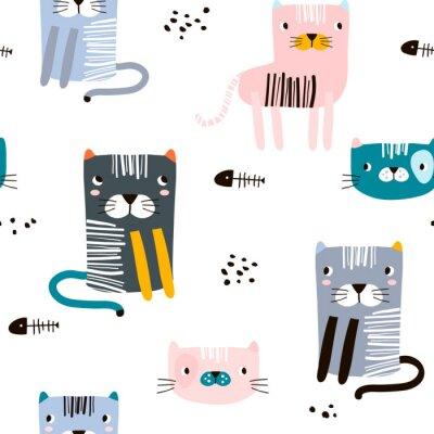 Tapeta Bezszwowy dziecinny wzór z śmiesznymi kotami. Kreatywna skandynawska tekstura dzieci do tkanin, opakowań, tekstyliów, tapet, odzieży. Ilustracji wektorowych