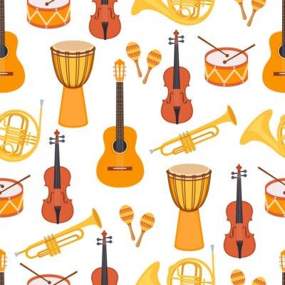 Tapeta Bezszwowy elegancki kolorowy wzór instrumenty muzyczni na białym tle. Skrzypce, djembe, bęben, marakasy, gitara, saksofon, fajka. Płaski styl. Ilustracji wektorowych