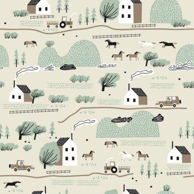Tapeta Bezszwowy kolorowy wzór z domem, drzewami, koniami i wzgórzami. Nordic krajobrazowy krajobrazowy pojęcie. Idealny dla dzieci tkanina, tkanina, tapety dziecięce.
