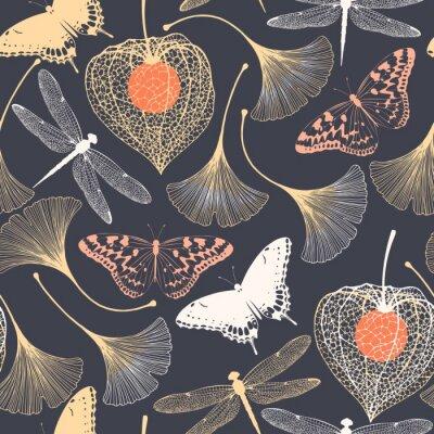 Tapeta Bezszwowy kwiecisty wzór z ginkgo liśćmi
