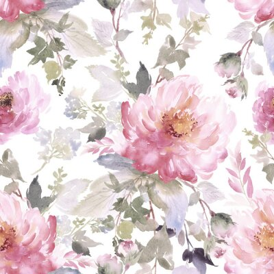 Tapeta Bezszwowy lato wzór z akwarela kwiatami handmade.