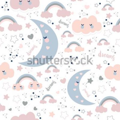 Tapeta Bezszwowy śliczny wzór z chmurami i księżyc. Słodki sen w stylu Kawaii.