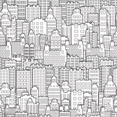 Tapeta Bezszwowy tło Z miasto budynku monochromem