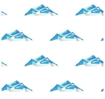 Tapeta Bezszwowy tło z pasiastą jaskrawą górą i wzgórzami w śniegu, płaska projekta zapasu wektoru ilustracja