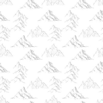 Tapeta Bezszwowy tło z szarość doodle nakreślenia górami. Może być stosowany do tapet, wypełnień deseniem, tekstyliów, tła strony internetowej, tekstur powierzchni.