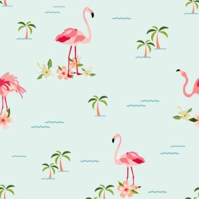 Tapeta Bezszwowy tropikalny wzór z flamingami, palmy
