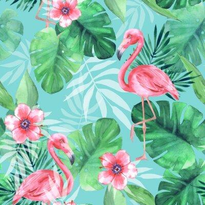 Tapeta Bezszwowy tropikalny wzór z różowymi flamingami. Akwarela ilustracja 3