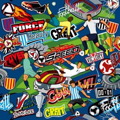 Tapeta Bezszwowy wzór. Atrybuty piłki nożnej, piłkarze różnych drużyn, piłki, stadiony, graffiti, napisy. Grafika wektorowa. Niebieskie tło