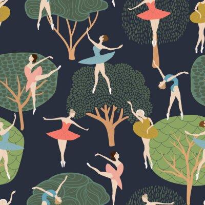 Tapeta Bezszwowy wzór baletniczy tancerze w różnych pozach. na tle drzew