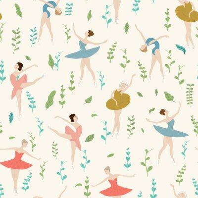 Tapeta Bezszwowy wzór baletniczy tancerze z roślinami w różnych pozach. na jasnym tle