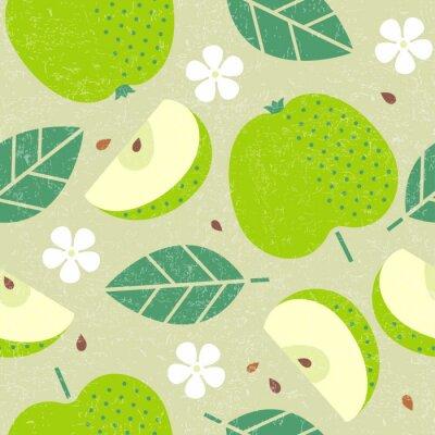 Tapeta Bezszwowy wzór. Jabłczane soczyste owoc opuszczają i kwiaty na podławym tle.