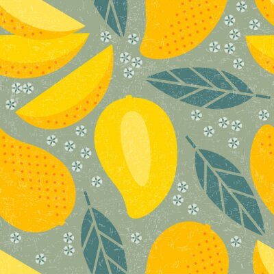Tapeta Bezszwowy wzór. Mango soczyste owoc opuszcza i kwitnie na podławym tle.