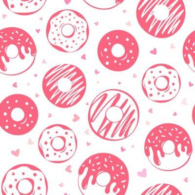 Tapeta Bezszwowy wzór menchie oszkleni donuts i mali serca na bielu