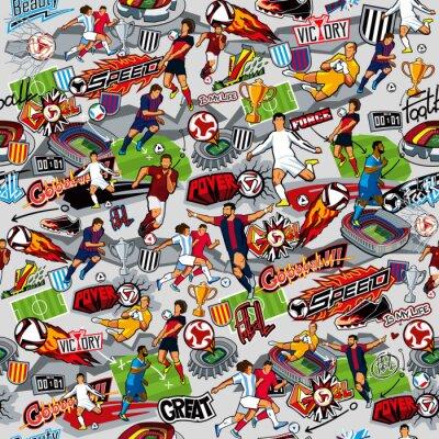Tapeta Bezszwowy wzór na temacie futbol. Atrybuty piłki nożnej, piłkarze różnych drużyn, piłki, stadiony, graffiti, napisy. Grafika wektorowa