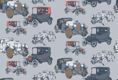 Tapeta Bezszwowy wzór rocznik avto. Grawerowany styl. Ilustracji wektorowych