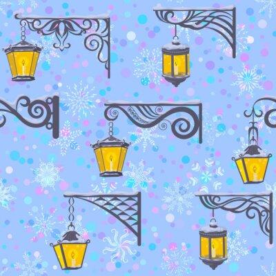 Tapeta Bezszwowy wzór, rocznik ulicy Luminescencyjni lampiony Wiesza na Dekoracyjnych wspornikach na Dachówkowym Błękitnym tle z Białymi płatkami śniegu. Wektor