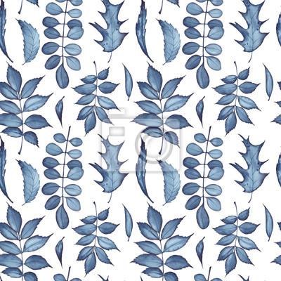 Tapeta Bezszwowy wzór witn koloru indygo liście. Akwarela na białym tle.